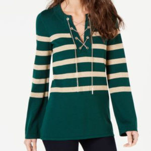 Michael Kors Chain Lace-Up Sweater Dark Emerald S